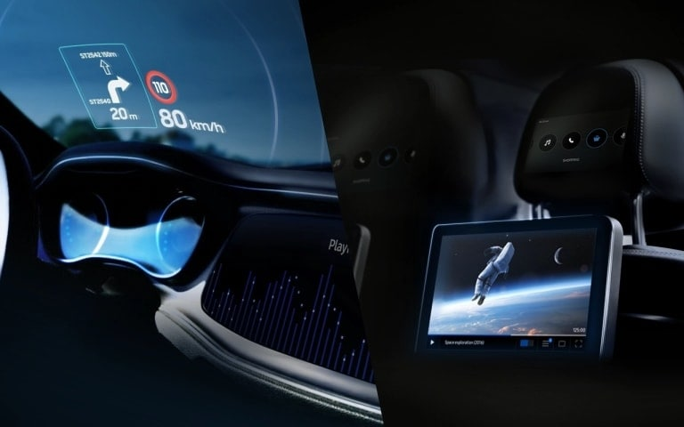 split image, in-vehicle infotainment system on the center console and backseat display up close