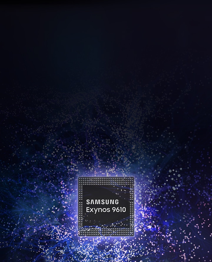 Exynos 9610 against an image of a neural network.
