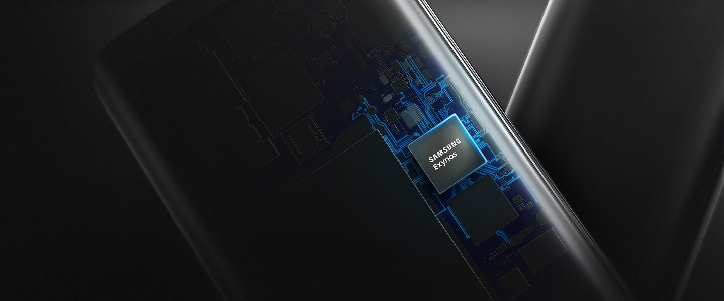 A transparent image of a smartphone with Exynos processor