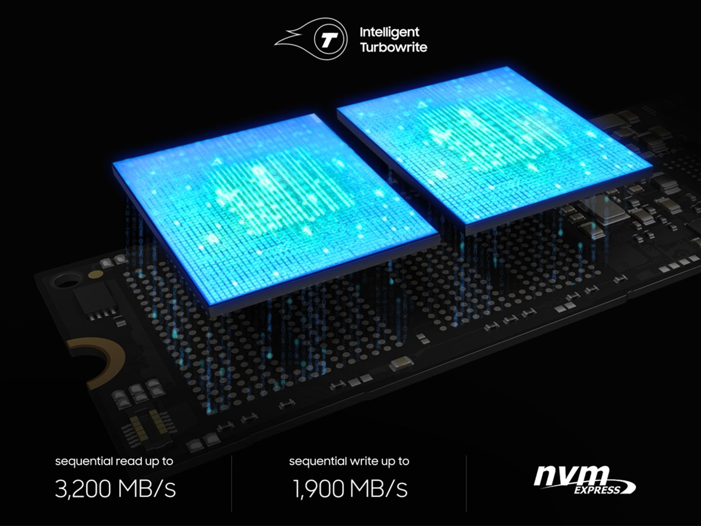 960 EVO's core components are floated on the air and they seem like to share data describing its bandwidth; 960 EVO has sequential reading speeds of up to 3.200 MB/s, and capable of writing at a speed of 1,900 MB/s.
