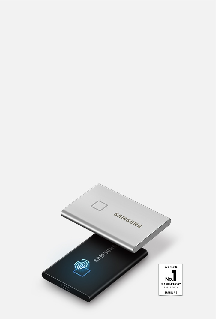 Angled side view of Samsung Portable SSD T7 Touch