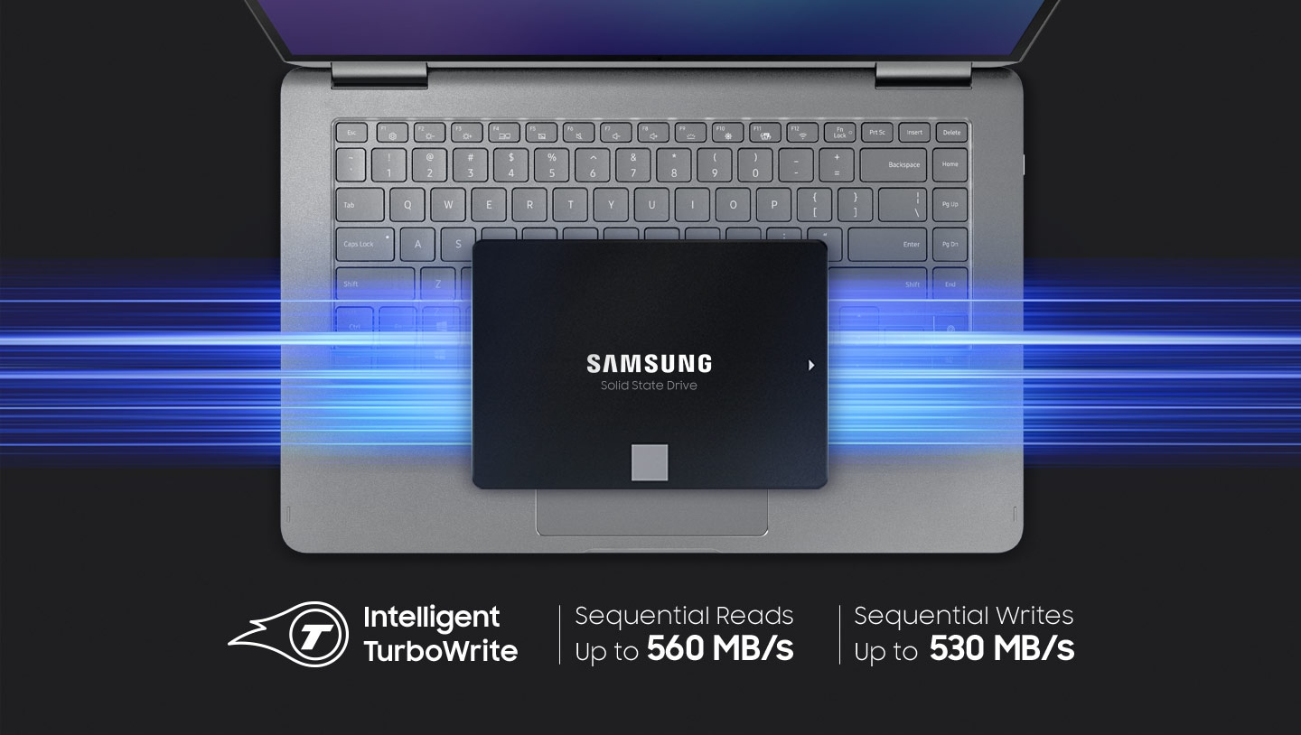 An illustrative image of SSD 870 EVO chip above laptop.