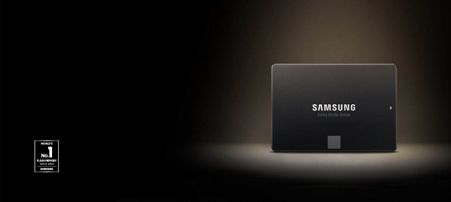 An illustrative image of Samsung 870 EVO in front and silver color and seal of World's No. 1 Flash Memory
