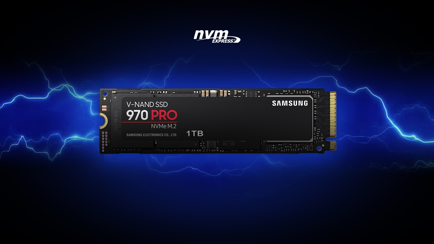 SAMSUNG V-NAND logo, nvm EXPRESS logo, and front view of 970 PRO over lightning effect