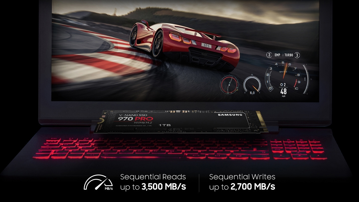 Screenshot of racing game displayed on the laptop and 970 PRO is placed on the top of the keyboard with the gage icon; Sequential Reads up to 3,500 MB/s, Sequential Writes up to 2,700 MB/s