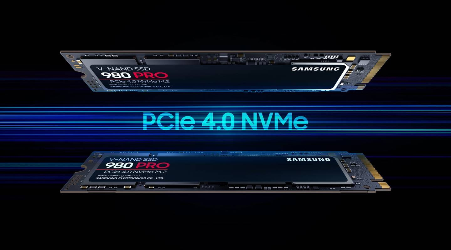An illustrative image of unleash the power of the Samsung PCIe 4.0 NVMe SSD 980 PRO for your next-level computing.