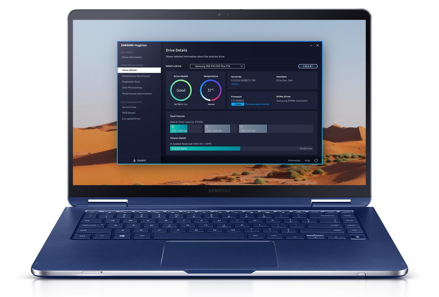 An image of Samsung Magician Software displaying drive details on the laptop screen.