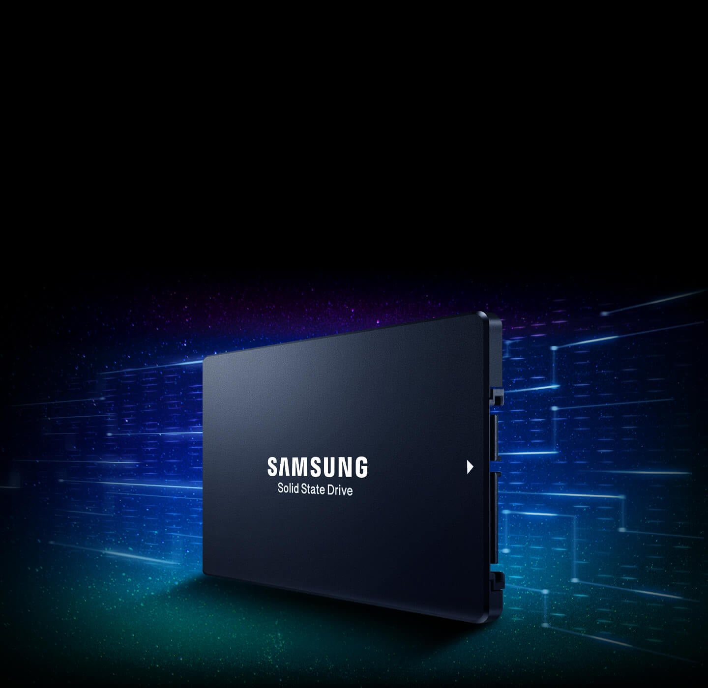 Angled side view of Samsung Data Center SSD 883 DCT.