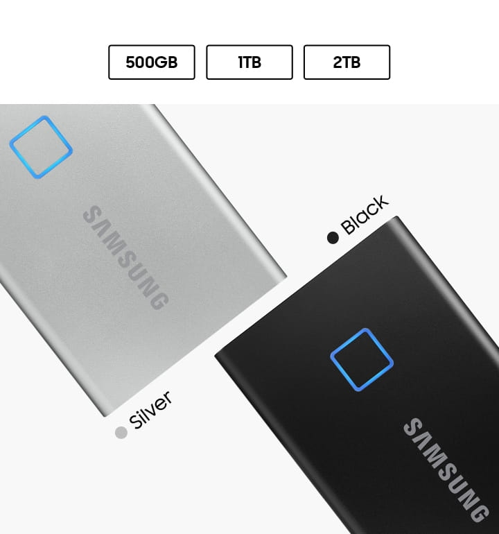 Samsung Portable SSD T7 Touch comes in black and silver, in 500GB, 1TB, 2TB.
