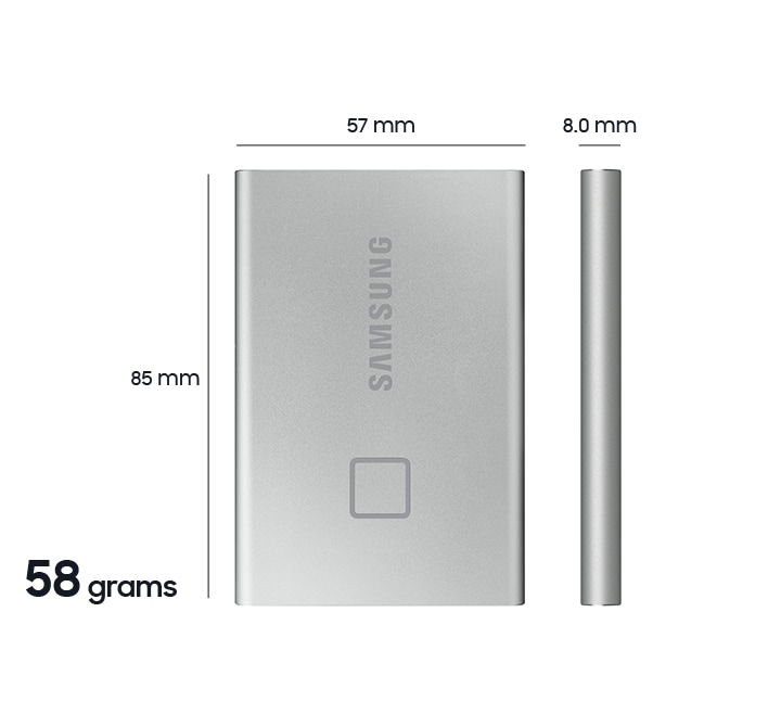Samsung Portable SSD T7 dimension 85 x 57 x 8.0 mm,  weight 58 g.