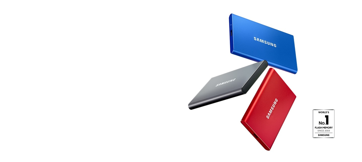 An illustrative image of Samsung Portable SSD T7 in black and silver and red color and seal of World's No. 1 Flash Memory Since 2003 - Samsung.