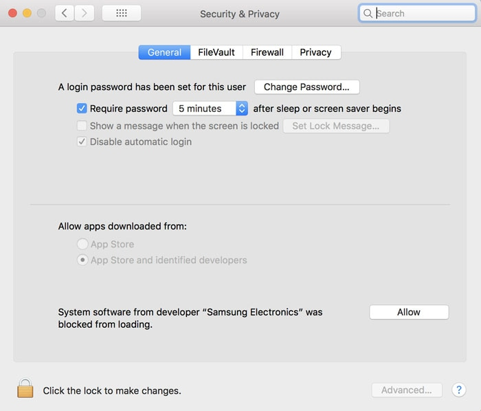 Image adjusting the security and the privacy settings, when Samsung Portable SSD is disconnected from the Mac OS.