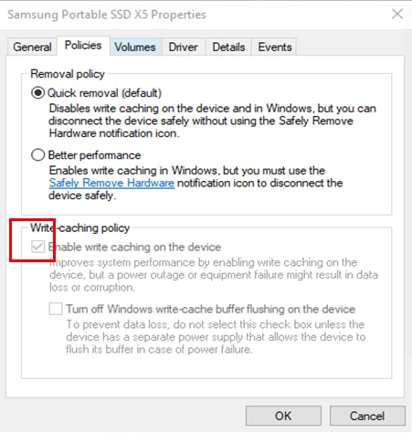 Image adjusting the Write-caching policy, when Samsung Portable X5 does not perform well from the Windows 10 OS.
