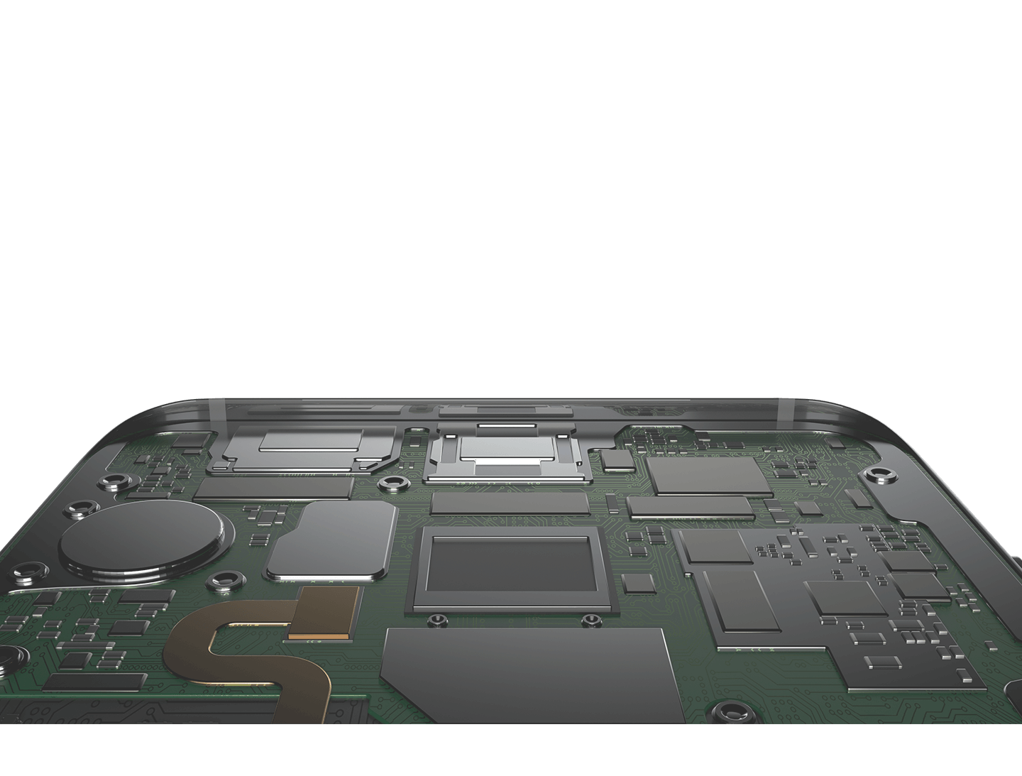 Motion showing hardware inside the smartphone and rear camera module parts are layered on top of ISOCELL image sensor