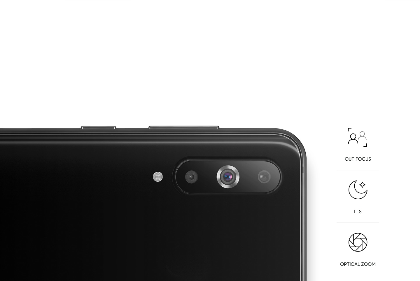 Rear view of smartphone with a triple camera with Outo Focus, LLS, and Optical Zoom symbols.