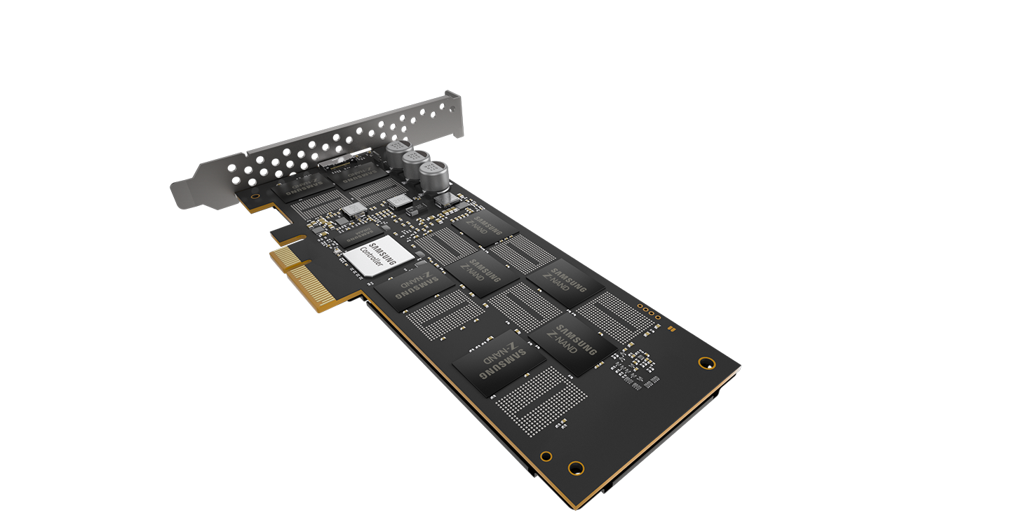 Samsung Z-SSD? with the image showing its various applications. The image contains a complex graph, brain, server room, and 3D graphic.