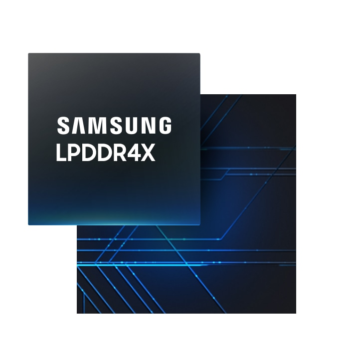 An illustrative image of Samsung LPDDR4X against an image of logic board.
