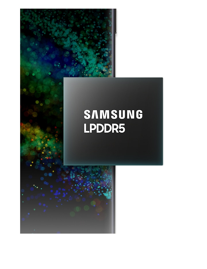 An illustrative image of Samsung LPDDR5 in front of a mobile device.