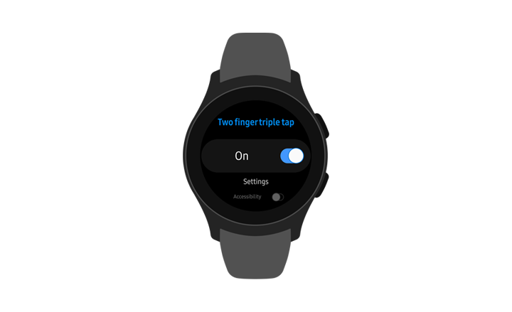 A front view of the Galaxy Watch showing the Two finger triple-tap menu option turned On.