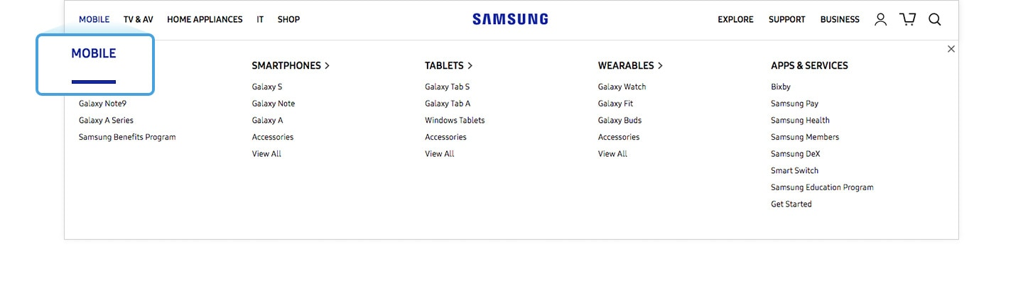 Enlarged image of the Mobile menu of the Samsung.com GNB