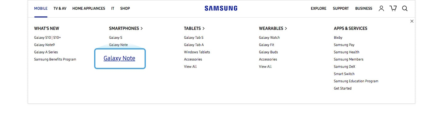 Enlarged image of the Galaxy Note menu of the Samsung.com GNB