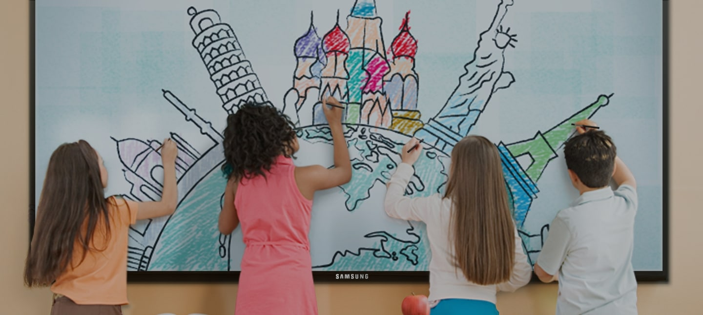 A group of kids drawing on a Samsung E-board at school