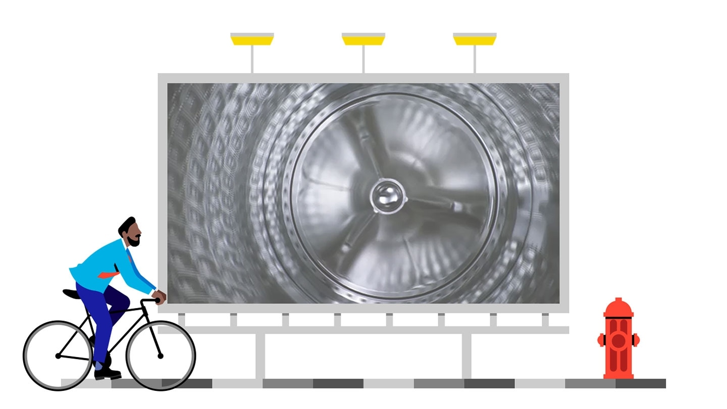 "Through Quick drive feature film, delivering message of the ""main drum"" and  the""back plate"" rotate itself to laundry clothes dynamically around the drum in multiple directions."
