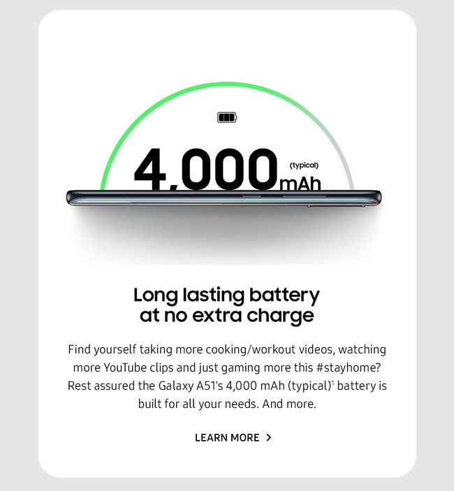 Long lasting battery at no extra charge