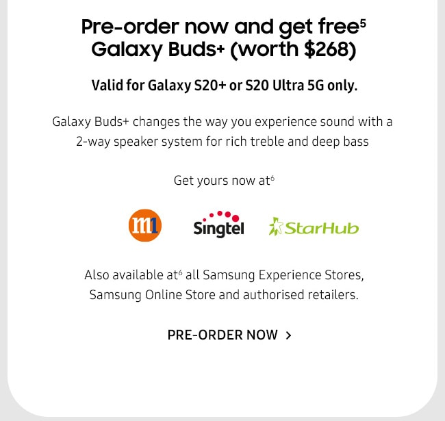 Pre-order now and get free Galaxy Buds+ (worth $268)