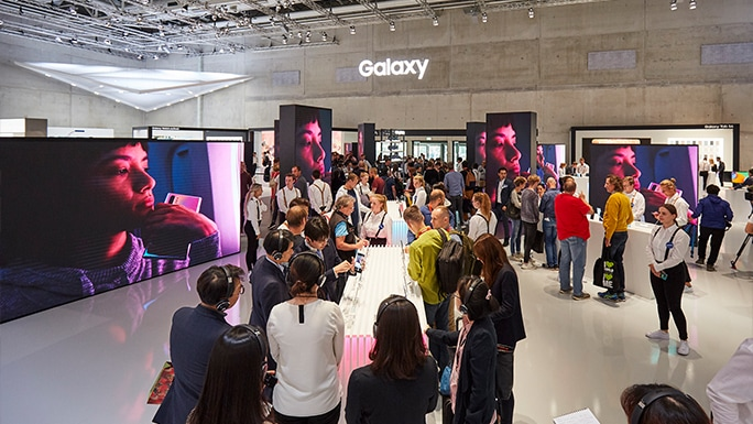 Displays of Galaxy mobile products at Galaxy Square Zone.