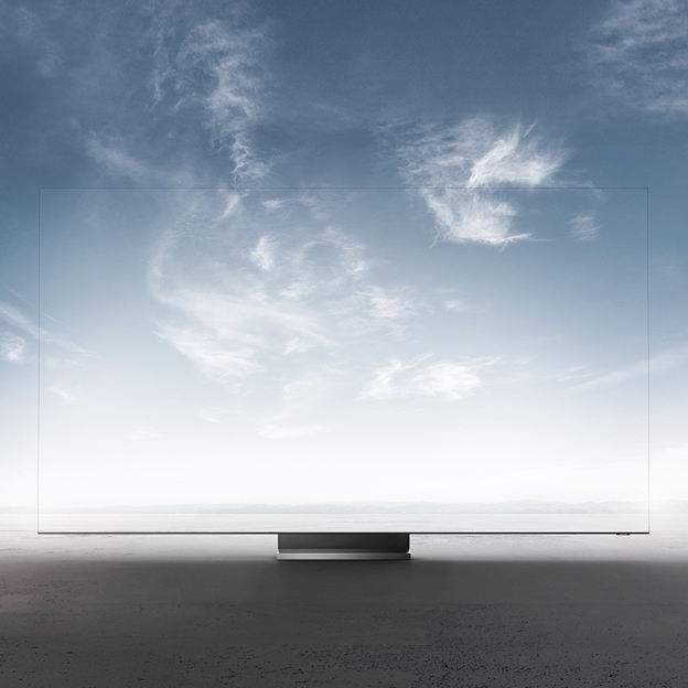 A 2020 Samsung QLED TV dramatically close up.
