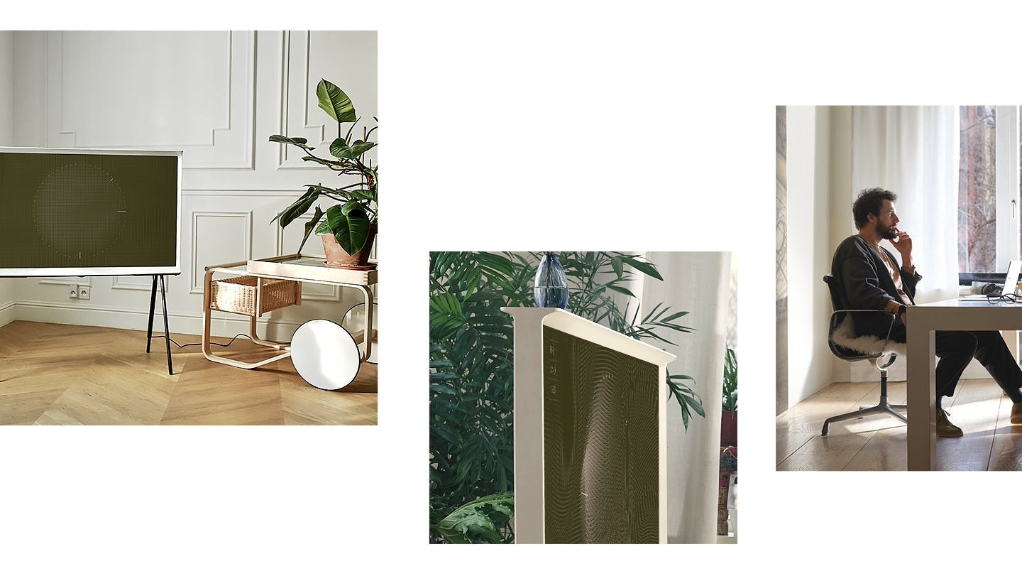 White The Serif in Fabric Magic Screen+ in the colour olive blended in a living room with green plants.