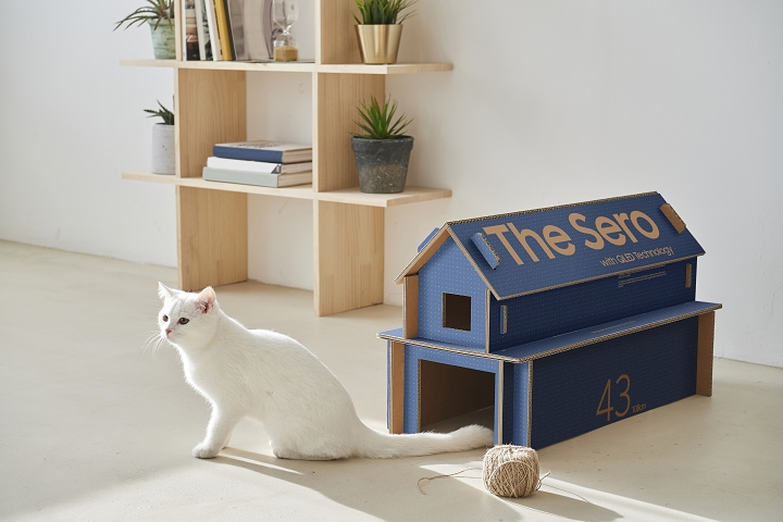 The Sero Eco-Packaging upcycled into a cat house