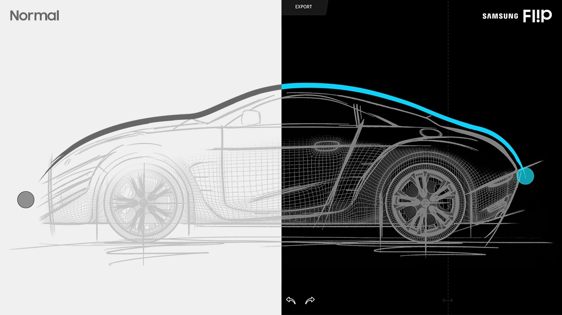 An image showing drawing of a car and illustrating different input delay when drawing using a normal pen and using a Samsung Flip pen, on each side.
