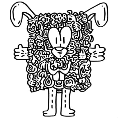 A black and white illustration by Mr. Doodle that resembles a bunny