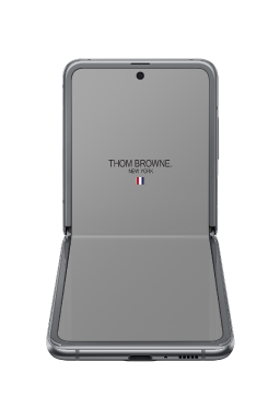Galaxy Z Flip Thom Browne Limited Edition folded to a right angle, facing front