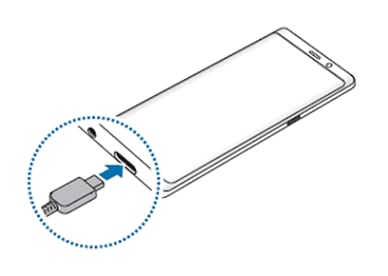 Plugging the USB Cable into the device