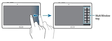 Drag your finger from the right edge of the screen towards the middle of the screen to open the Multi window tray