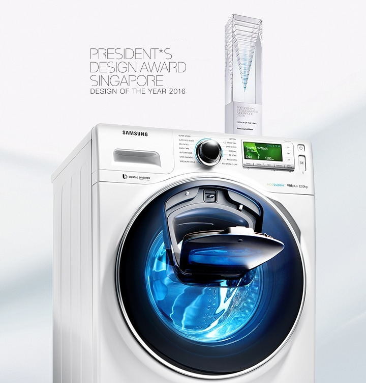 Samsung AddWash™ Washing Machine designed in Singapore, allows to add forgotten clothes in the middle of washing cycle
