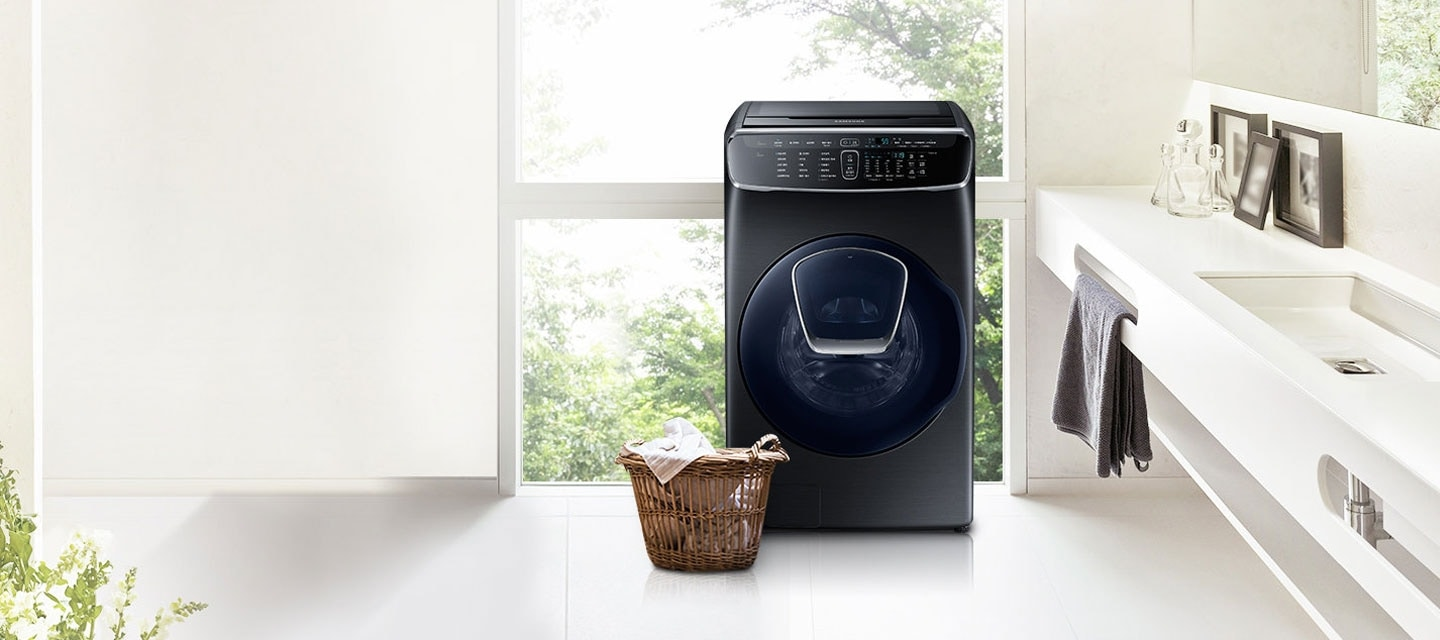 Samsung FlexWash Washing Machine with separate top and front washer in one washing machine for multiple loads at the same time