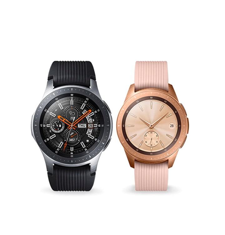 Two Galaxy Watches, one in black and one in rose gold, both seen from the front