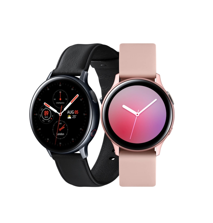 Two Galaxy Watch Active2 watches, one in black and one in pink gold. The black watch is seen at a three-quarter angle, and the pink gold watch is seen from the front