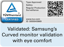 Certification mark of TUV Rheiland of eye comfort on Samsung curved monitor. QR code to check validation code in TUV website