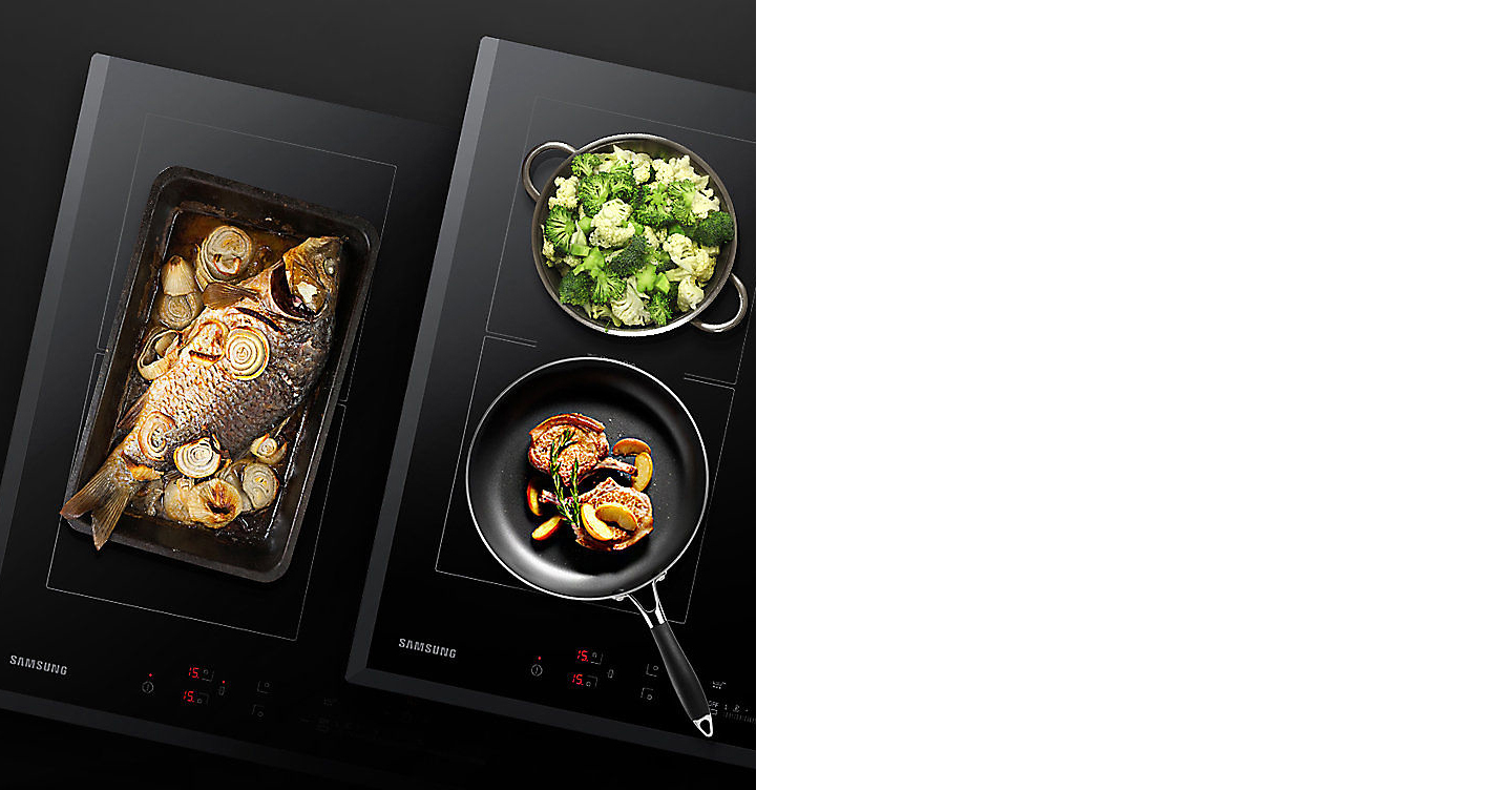 Two dishes are on a Samsung cooktop with Virtual Flame™ technology.