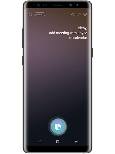 Bixby being used on the Galaxy Note8