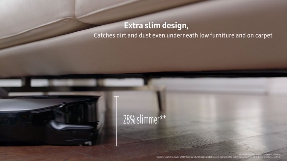 The 'Extra slim design, Extra powerful' image, showing a user scenario of a POWERbot VR7010 device being used at home, cleaning a dirty sofa effectively with its powerful performance and thin design.