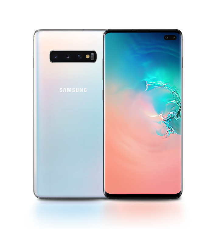 Two Galaxy S10 plus phones in Prism White, one seen from the rear and one seen from the front. The phone seen from the front has an abstract coral and blue gradient graphic onscreen.
