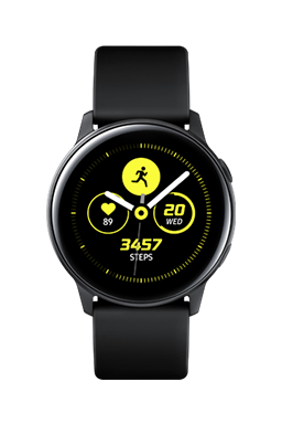Galaxy Watch Active in Black with black strap, with a black and yellow fitness tracking watch face onscreen.