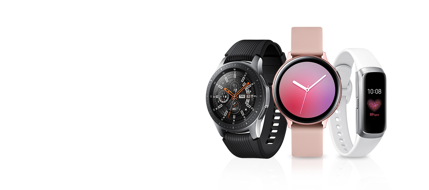 星燦銀Galaxy Watch、玫瑰金Galaxy Watch Active2及星燦銀Galaxy Fit並列