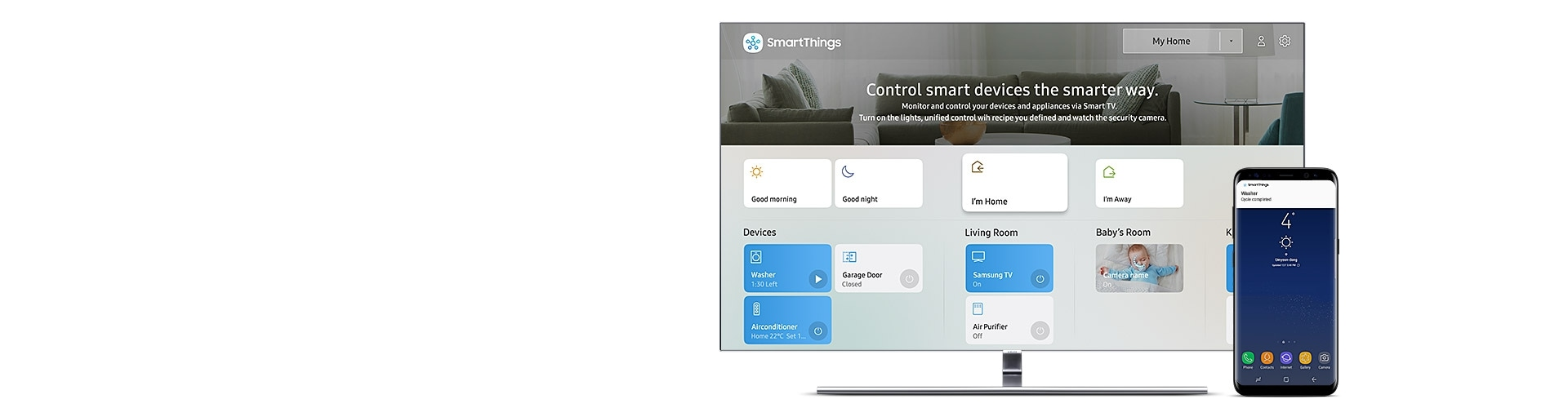 Samsung QLED TV is shown alongside a mobile phone. TV screen displays IoT Dashboard that enable you to control connected device in smarter way, showing the status of your devices such as washer, garage door, air conditioner. And mobile phone is showing a notification that saying your washer cycle is completed.